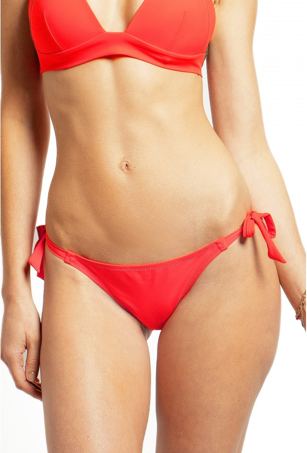 Bikini Bottom to adjust and tie Onyx PAIN DE SUCRE, Red Coral - Uni Life