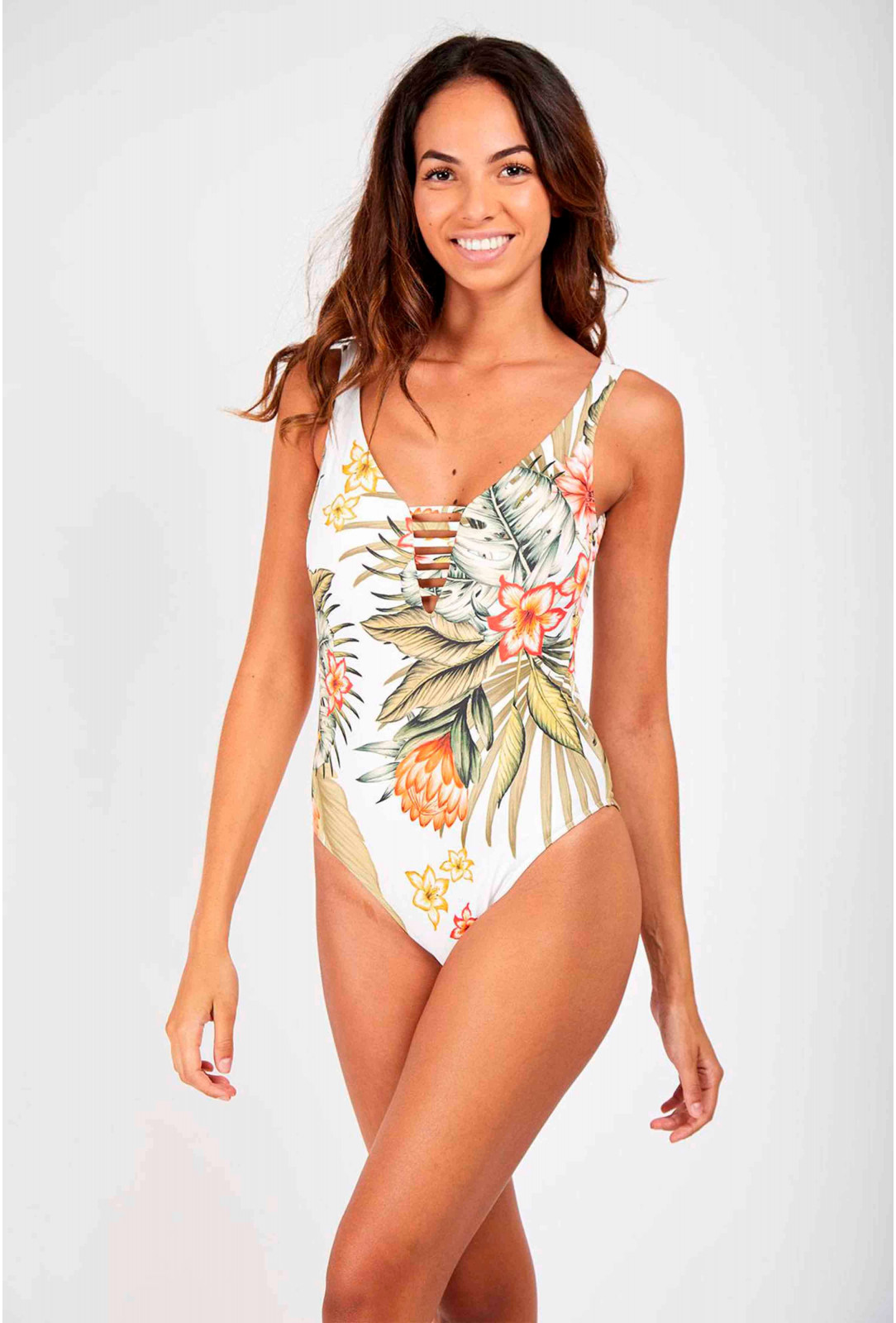 Banana Moon White One Piece Swimsuit White Miller